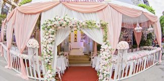 mẫu rạp cưới đẹp màu hồng