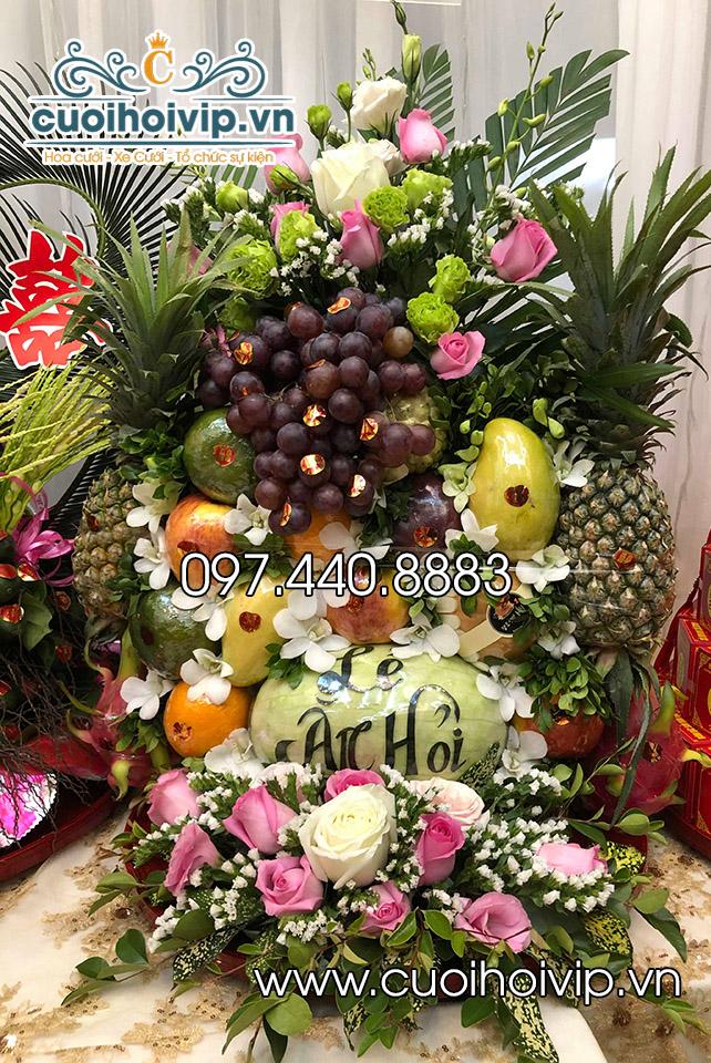 Tráp lẵng hoa quả trong lễ ăn hỏi